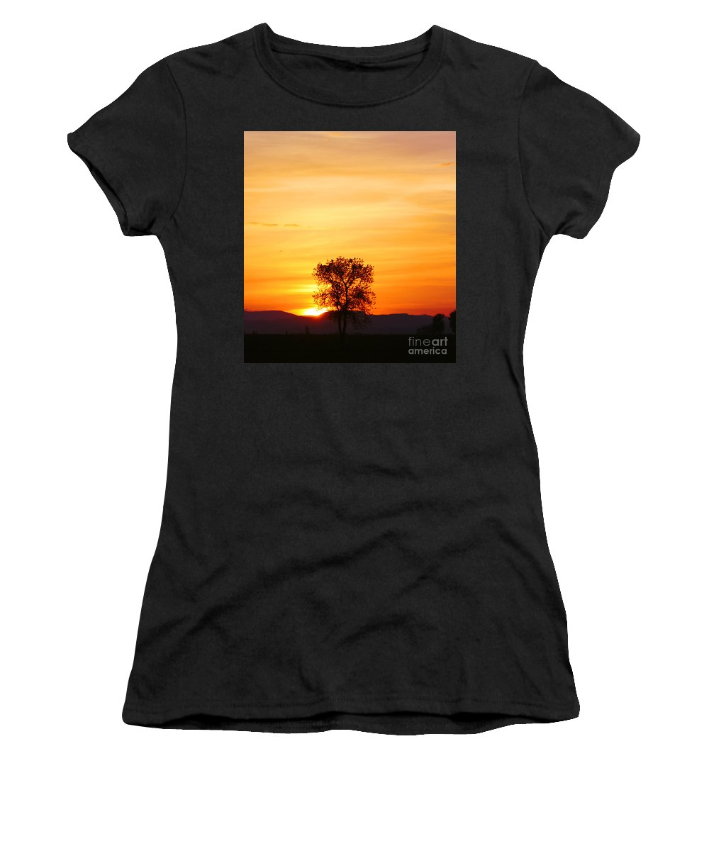 Tree Women's T-Shirt (Athletic Fit) featuring the photograph Lone Tree Sunset by Nick Gustafson