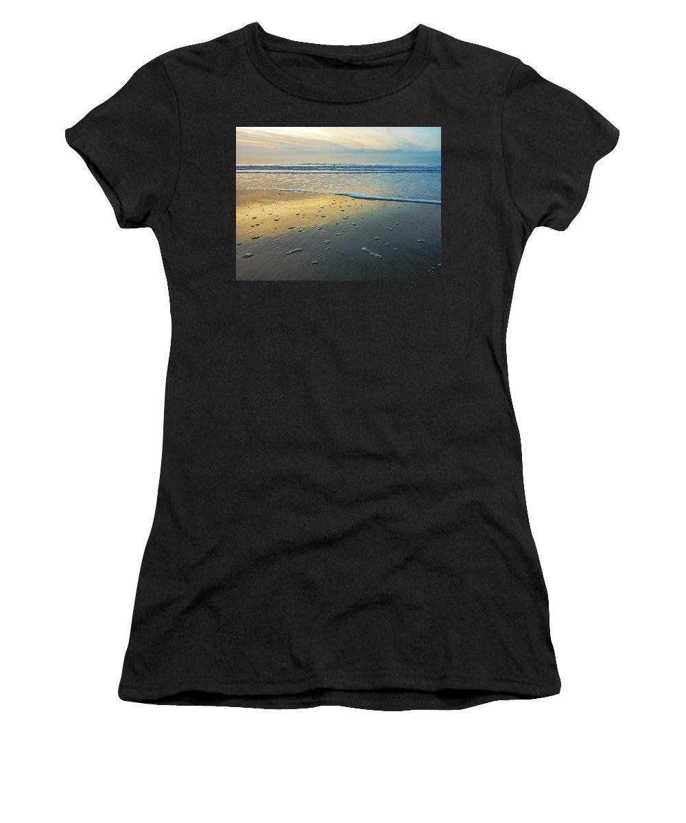 Sea Women's T-Shirt (Athletic Fit) featuring the photograph Lonely Beach by Nannie Van der Wal