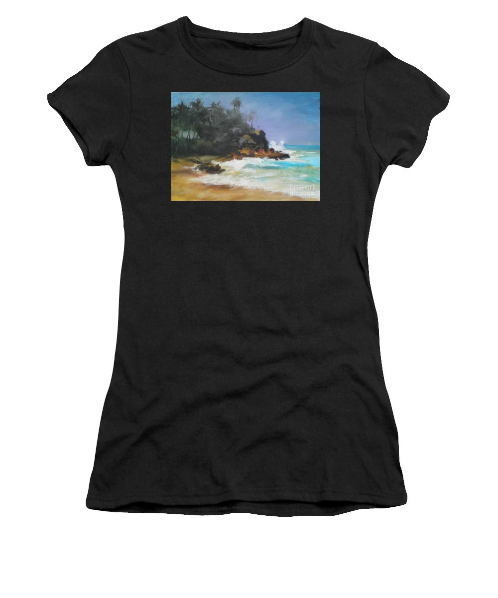 Seascape Women's T-Shirt (Athletic Fit) featuring the painting Lonely Sea by Rushan Ruzaick
