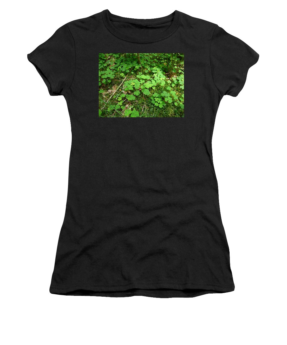 Clover Women's T-Shirt (Athletic Fit) featuring the photograph Looking For A Four-leaf Clover by Valerie Ornstein