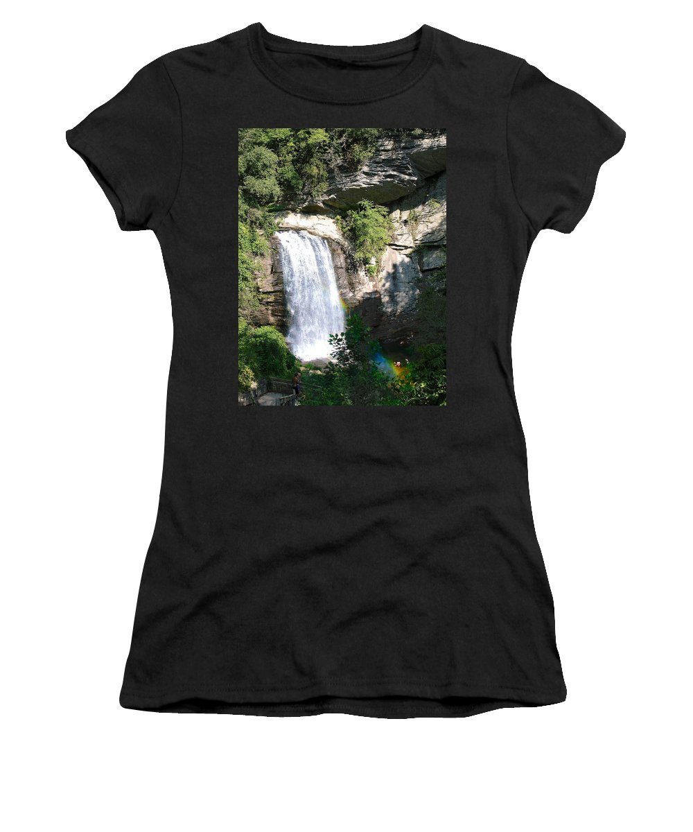 Landscape Women's T-Shirt (Athletic Fit) featuring the photograph Looking Glass Falls Nc by Steve Karol