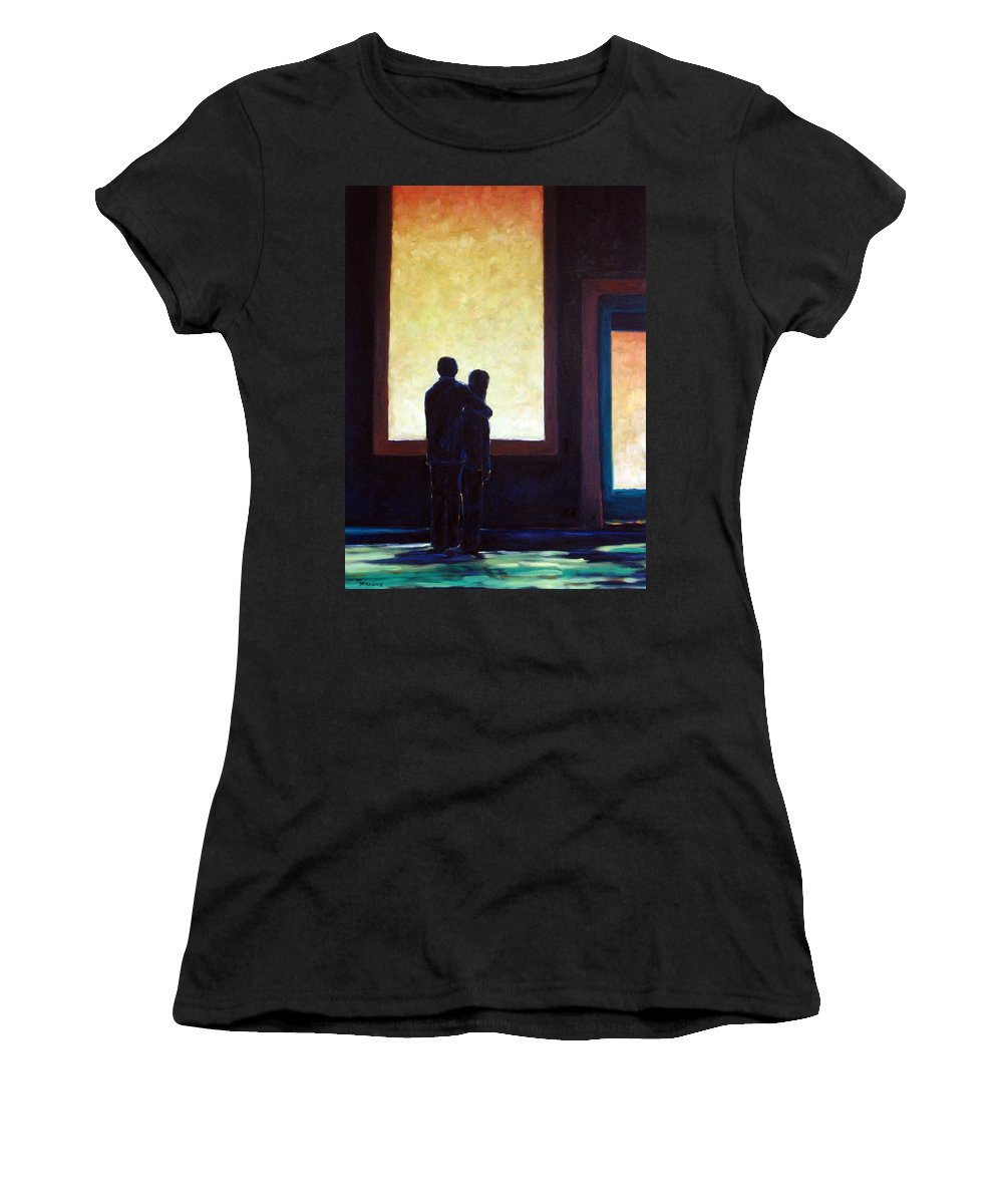Pranke Women's T-Shirt (Athletic Fit) featuring the painting Looking In Looking Out by Richard T Pranke