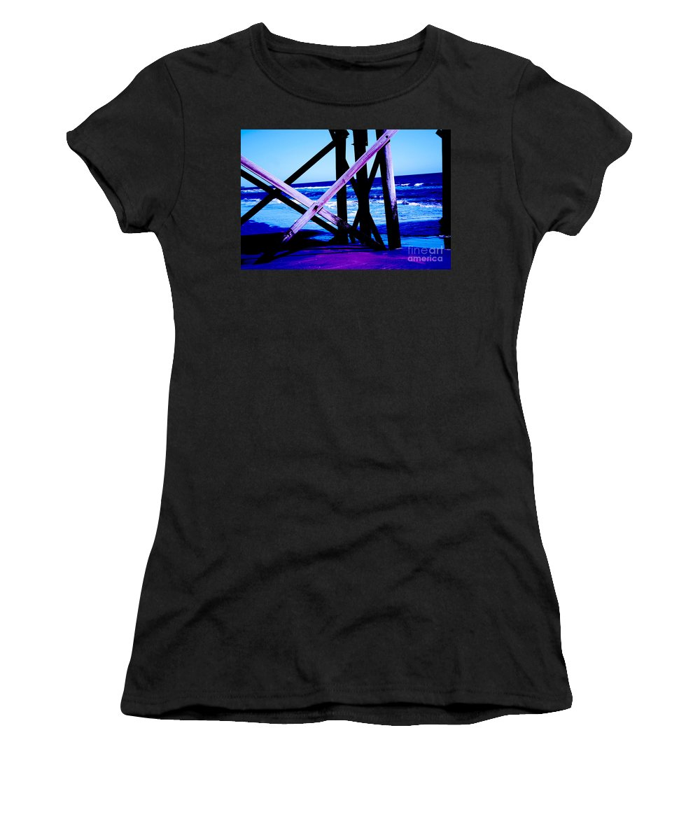 Blue Women's T-Shirt featuring the photograph Looking On - Blue by Jamie Lynn