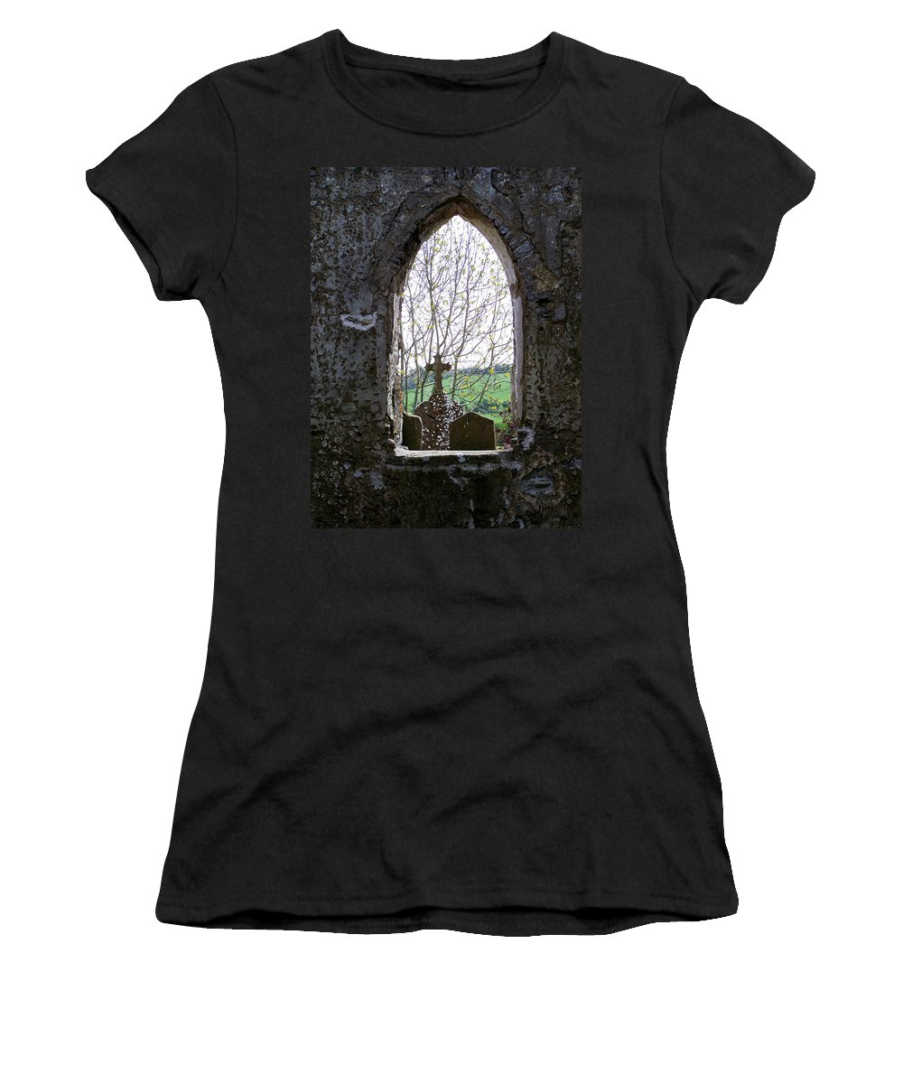 Ireland Women's T-Shirt (Athletic Fit) featuring the photograph Looking Out Fuerty Church Roscommon Ireland by Teresa Mucha