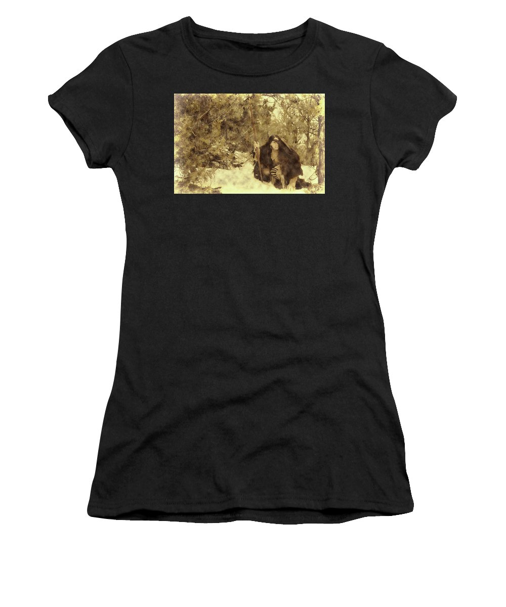 Eaglewolf Women's T-Shirt (Athletic Fit) featuring the photograph Lookout by Samantha Burrow