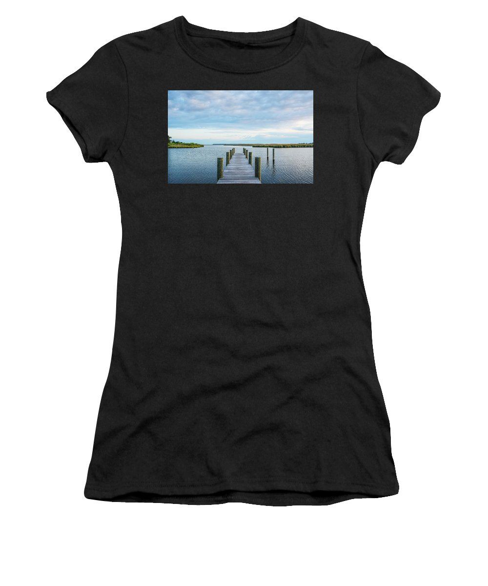 Dock Women's T-Shirt (Athletic Fit) featuring the photograph Looks Like A Sea Day by Robert Coffey