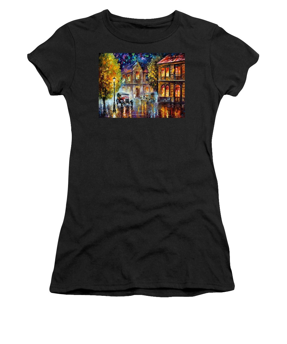 Afremov Women's T-Shirt (Athletic Fit) featuring the painting Los Angeles 1930 by Leonid Afremov