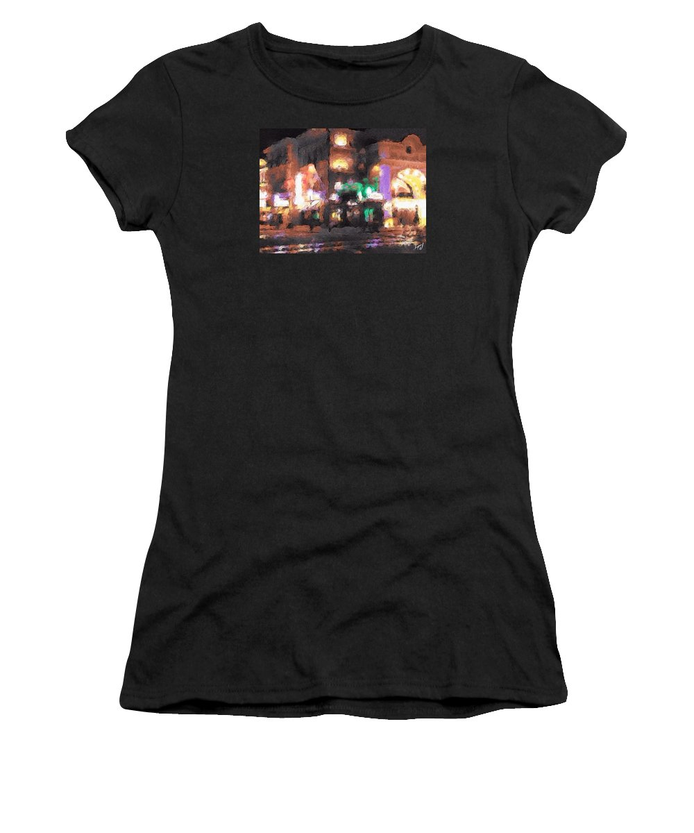 Arcade Street Universal Landscape Noir Glow Distortion Lights City Town Urban Women's T-Shirt (Athletic Fit) featuring the painting Lost Arcade by J Wagner