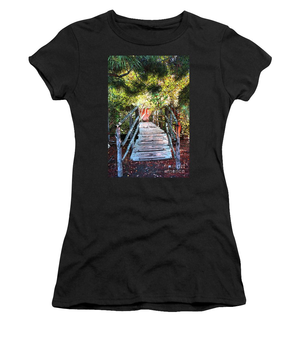 Oak Glen Women's T-Shirt (Athletic Fit) featuring the digital art Lost Bridge by Tommy Anderson