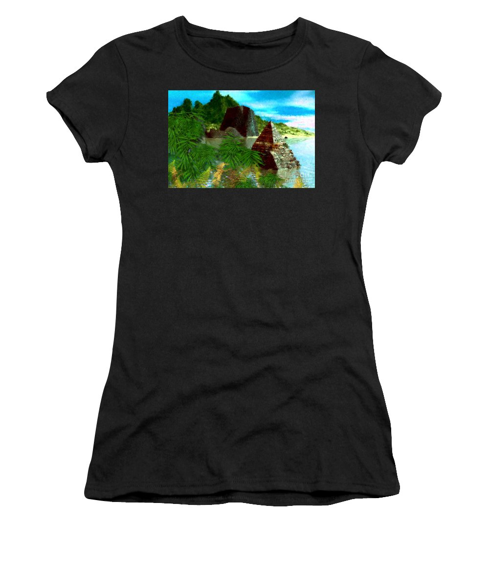 Digital Fantasy Painting Women's T-Shirt (Athletic Fit) featuring the digital art Lost City by David Lane