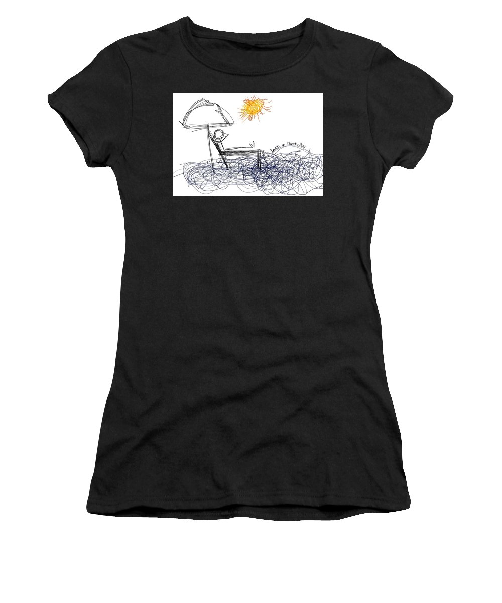 Paradise Women's T-Shirt (Athletic Fit) featuring the drawing Lost In Pr by Rachel