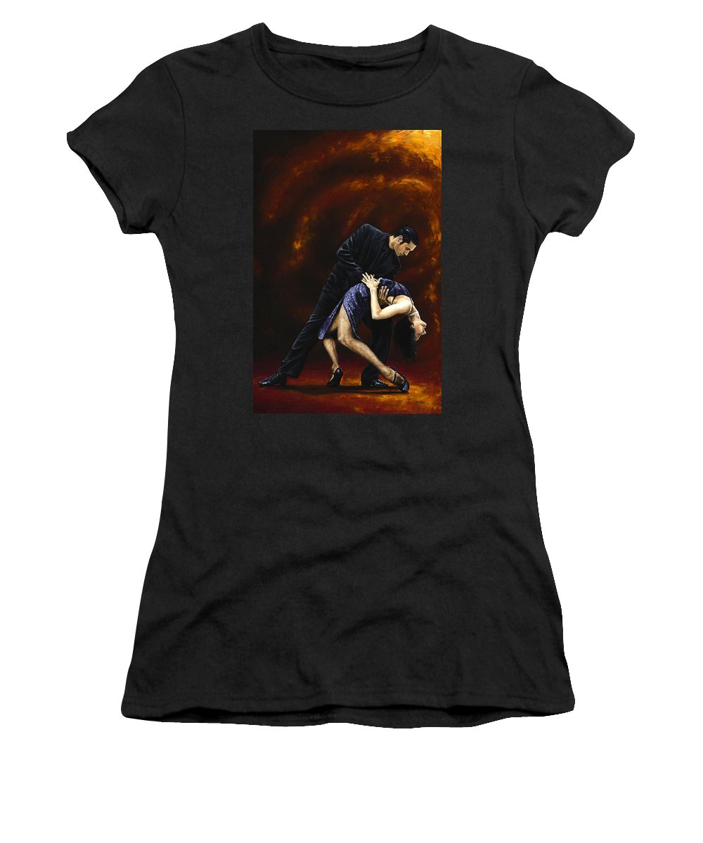 Tango Women's T-Shirt (Athletic Fit) featuring the painting Lost In Tango by Richard Young