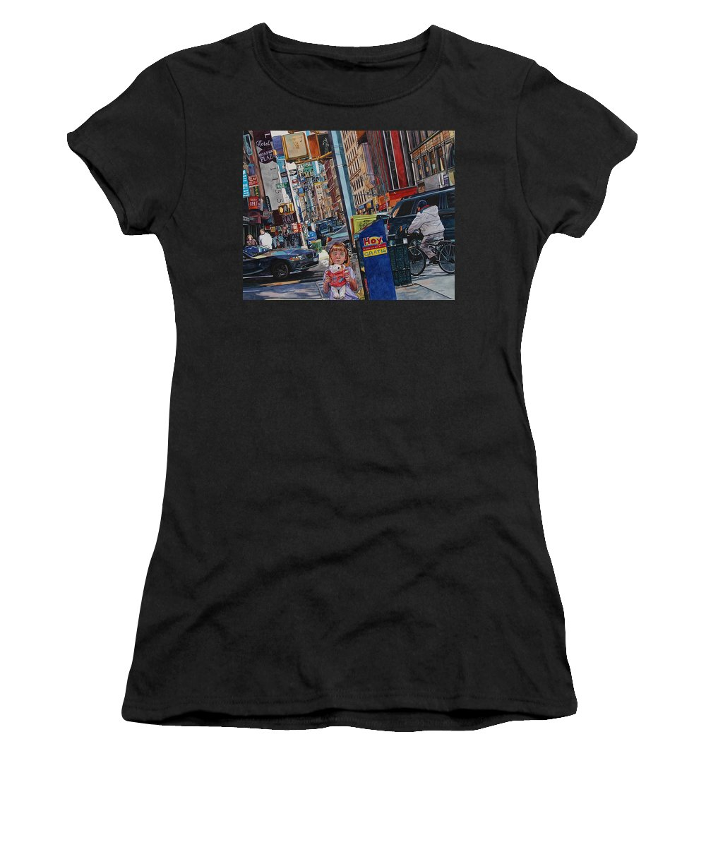 City Women's T-Shirt (Athletic Fit) featuring the painting Lost by Valerie Patterson