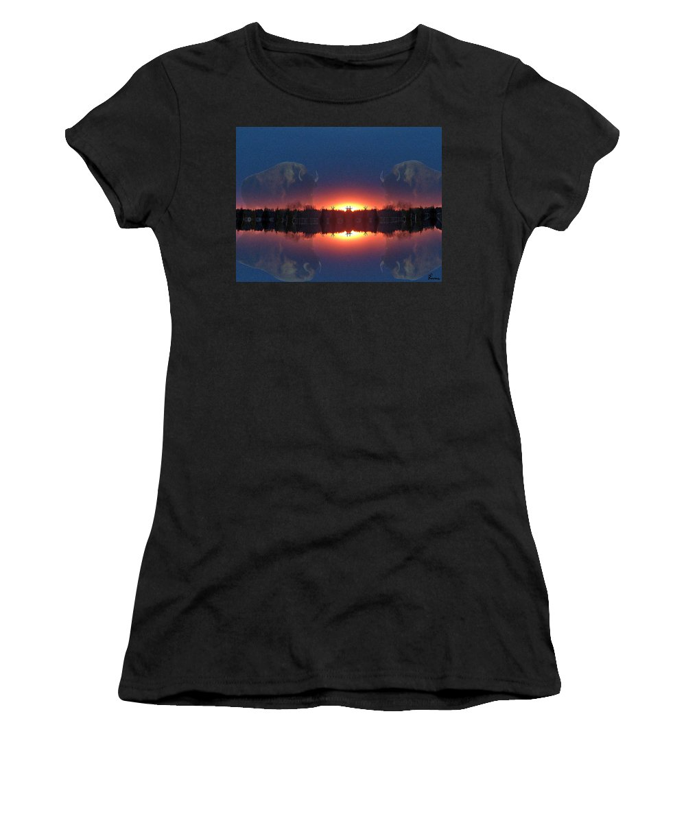 Tee Pee Native Buffalo Bison Lake Water Trees Forest Nature Reflection Lost World Women's T-Shirt (Athletic Fit) featuring the photograph Lost World Reflections by Andrea Lawrence
