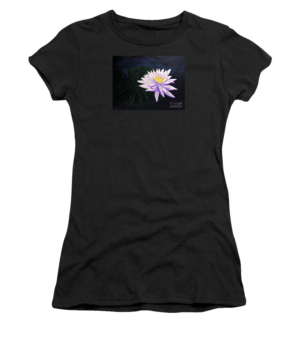 Original Painting Women's T-Shirt (Athletic Fit) featuring the painting Lotus Blossom At Night by Patricia Griffin Brett