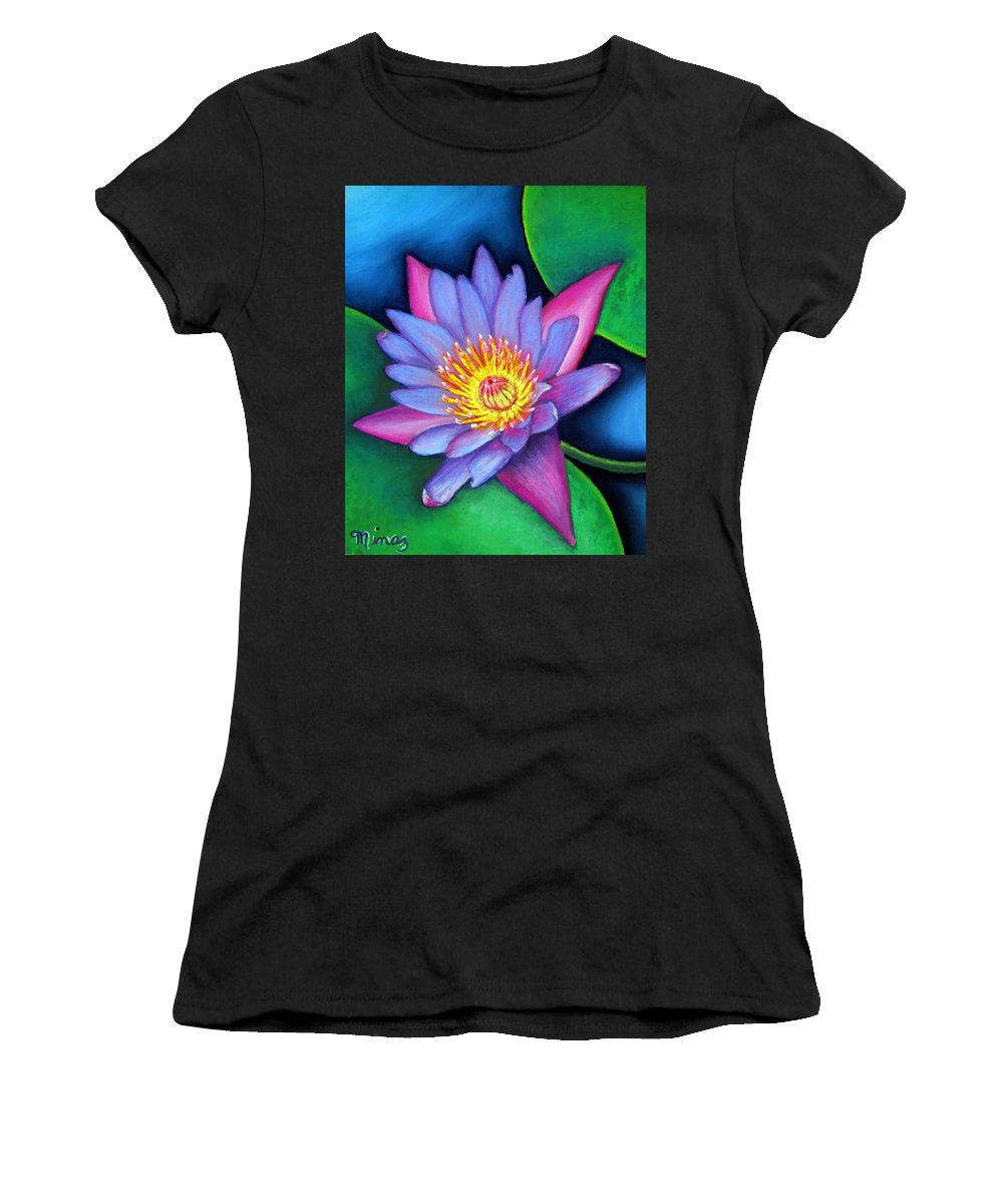Flower Women's T-Shirt (Athletic Fit) featuring the painting Lotus Divine by Minaz Jantz