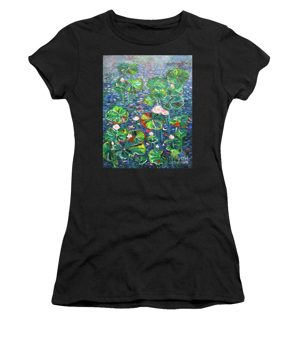 Water Lily Paintings Women's T-Shirt (Athletic Fit) featuring the painting Lotus Flower Water Lily Lily Pads Painting by Seon-Jeong Kim