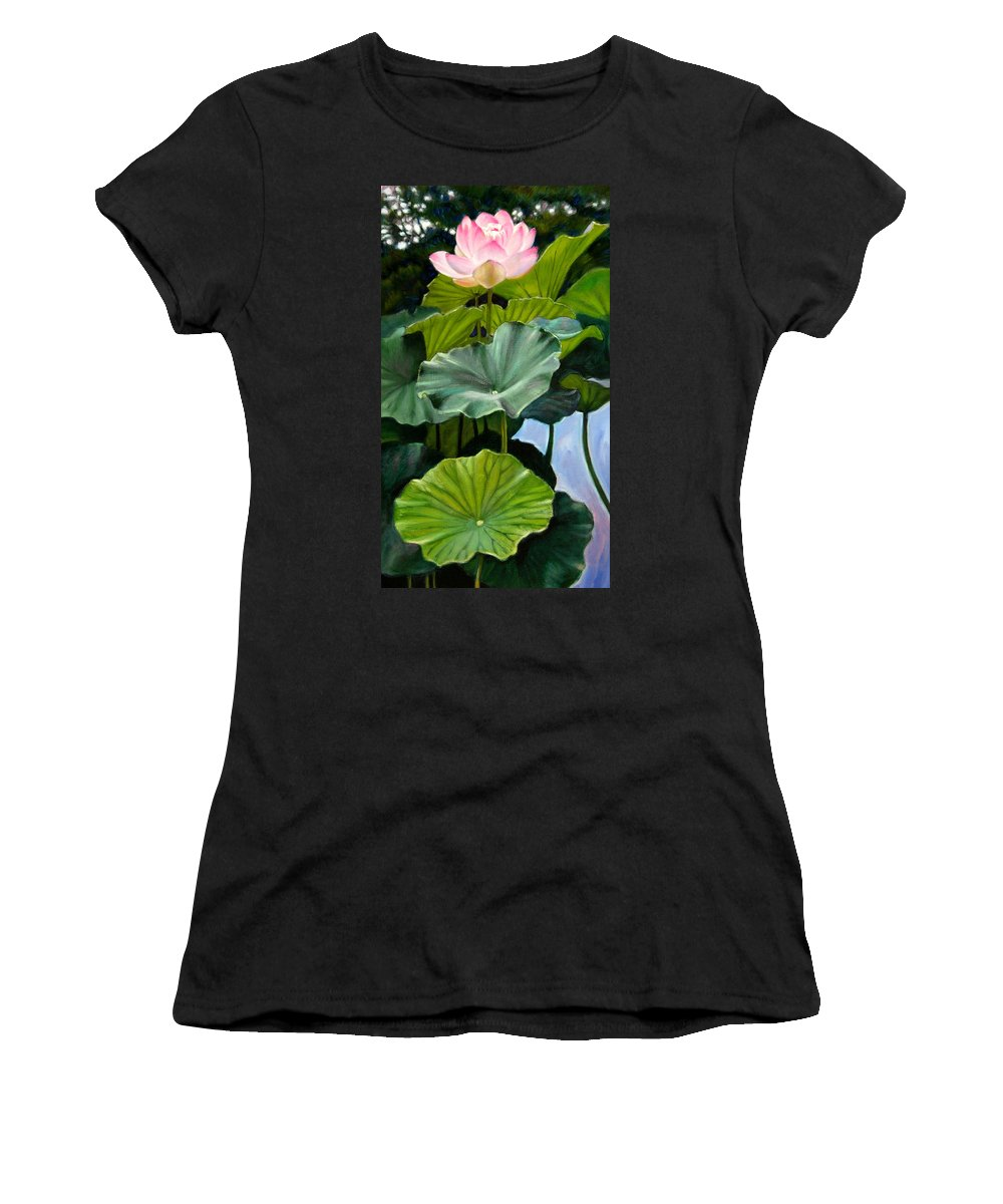 Lotus Flower Women's T-Shirt (Athletic Fit) featuring the painting Lotus Rising by John Lautermilch