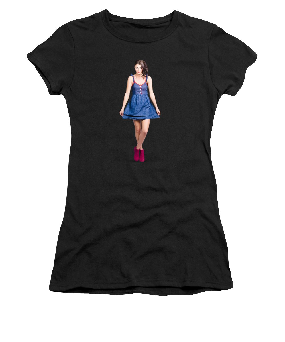 Pinup Women's T-Shirt featuring the photograph Lovable Eighties Female Pin-up In Denim Dress by Jorgo Photography - Wall Art Gallery