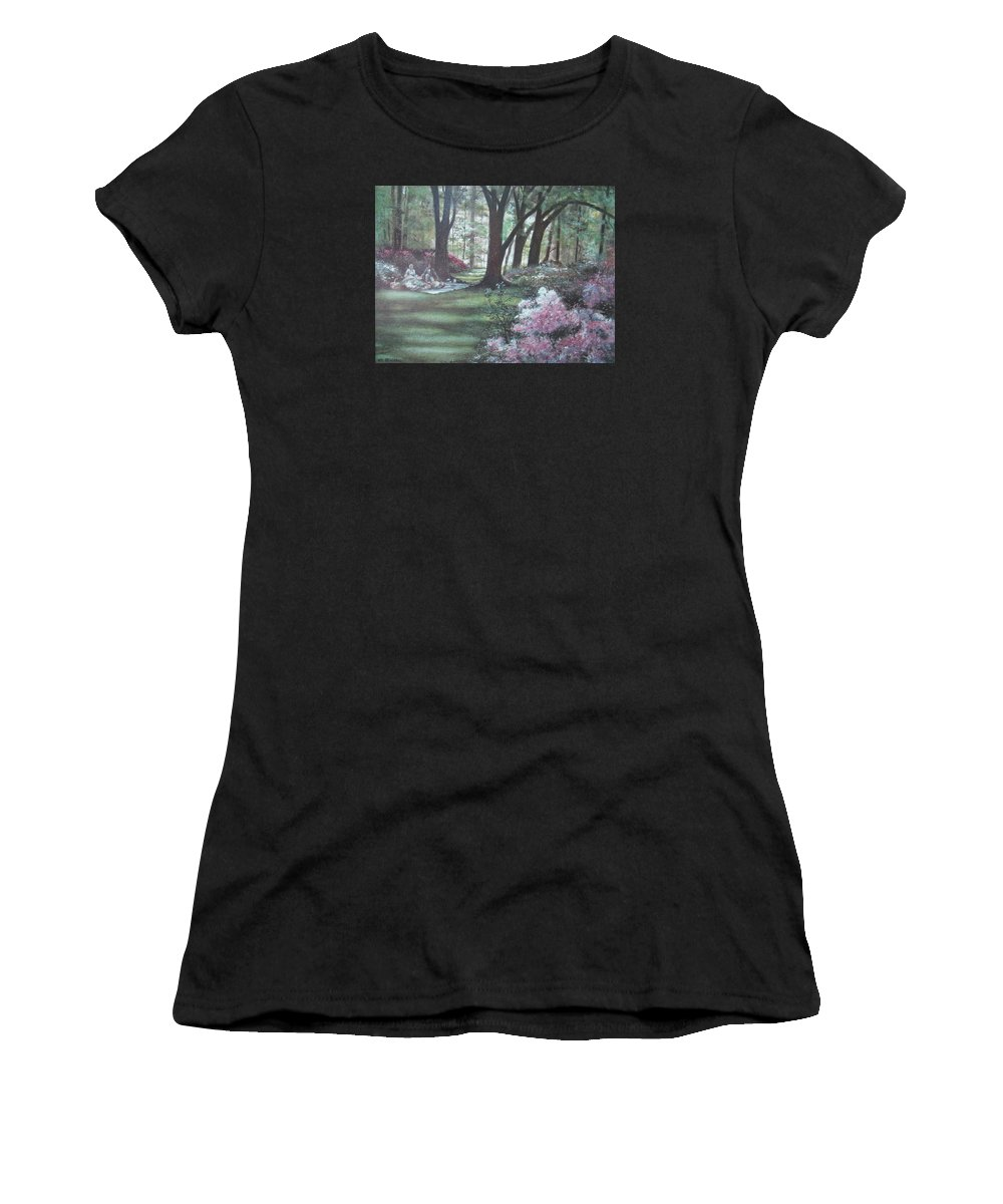 Charles Roy Smith Women's T-Shirt featuring the painting Love In Bloom by Charles Roy Smith