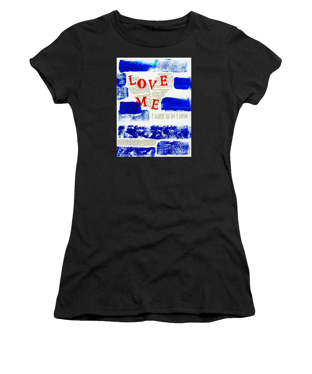 Blue Women's T-Shirt (Athletic Fit) featuring the painting Love Me by Cristina Stefan