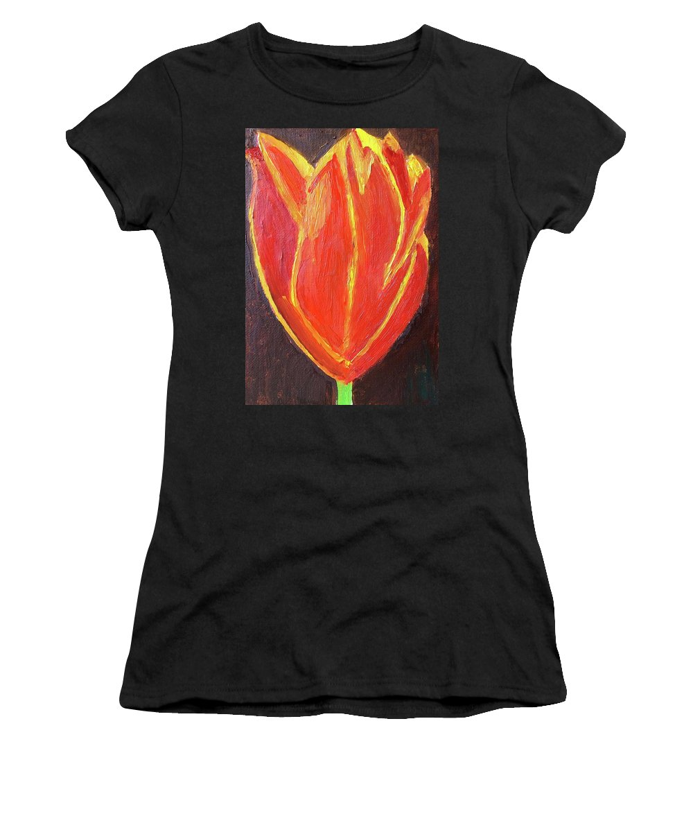 Oil Painting Women's T-Shirt (Athletic Fit) featuring the painting Love Starts With A Feeling by John Russo