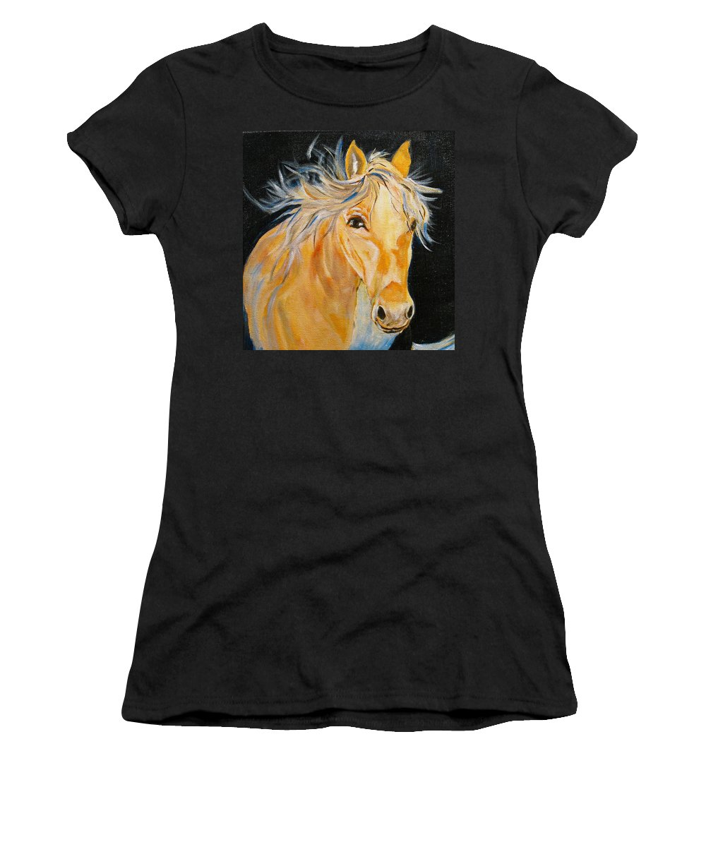 Horses Women's T-Shirt featuring the painting Love Story by Donna Steward