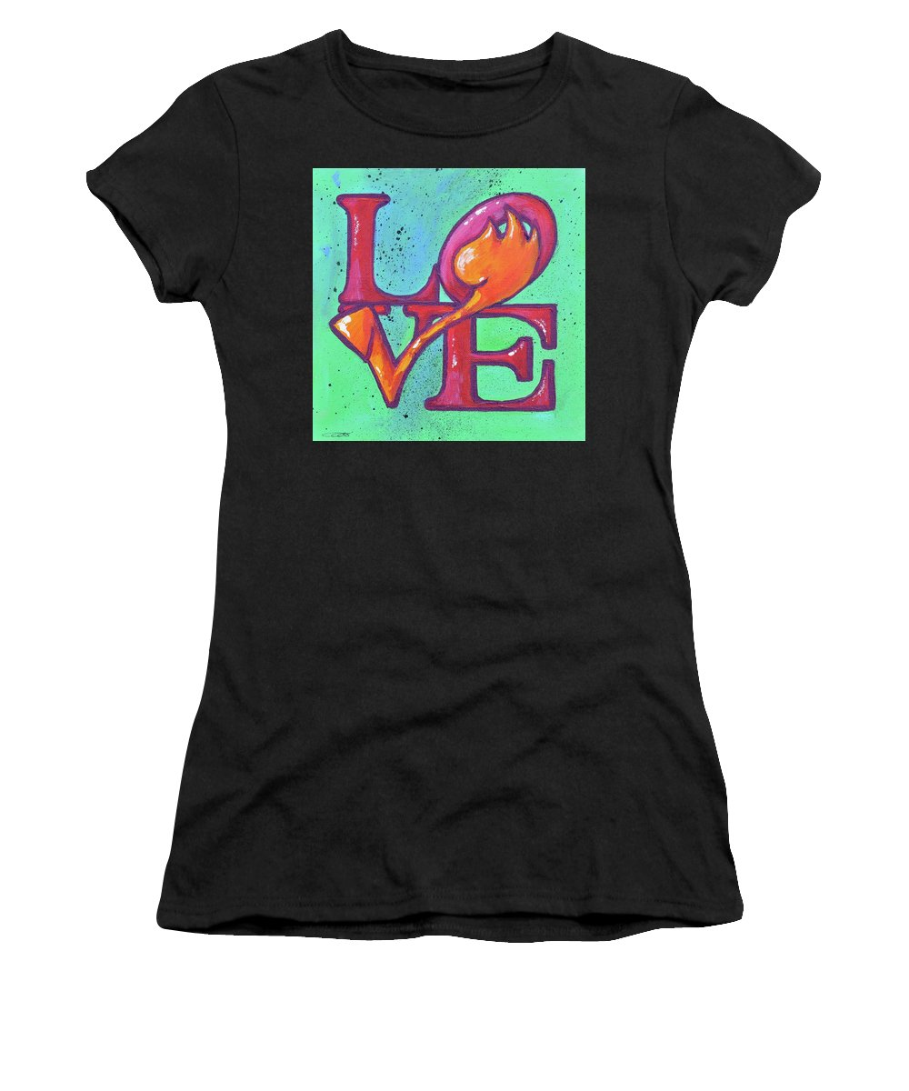 Tulips Women's T-Shirt (Athletic Fit) featuring the painting Love Tulips by Eduard Meinema