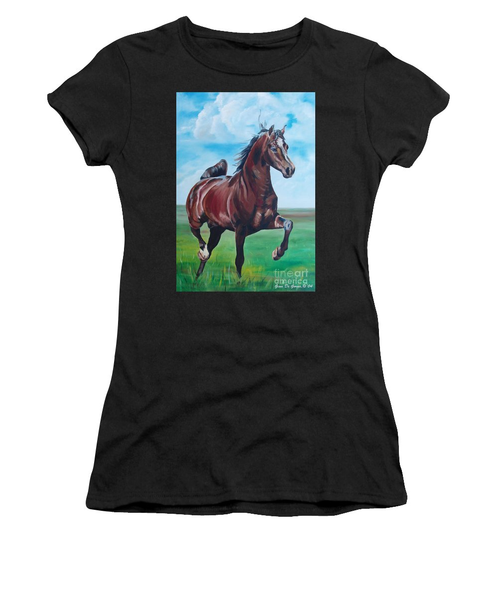 Horse Women's T-Shirt featuring the painting Lovely by Gina De Gorna