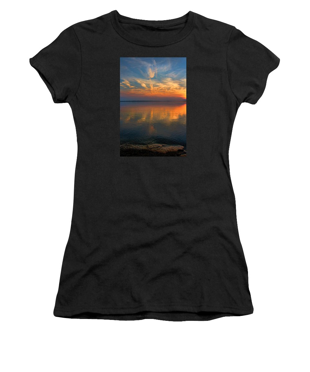 Sunset Women's T-Shirt (Athletic Fit) featuring the photograph Lovely Lakeside View by Carolyn Fletcher