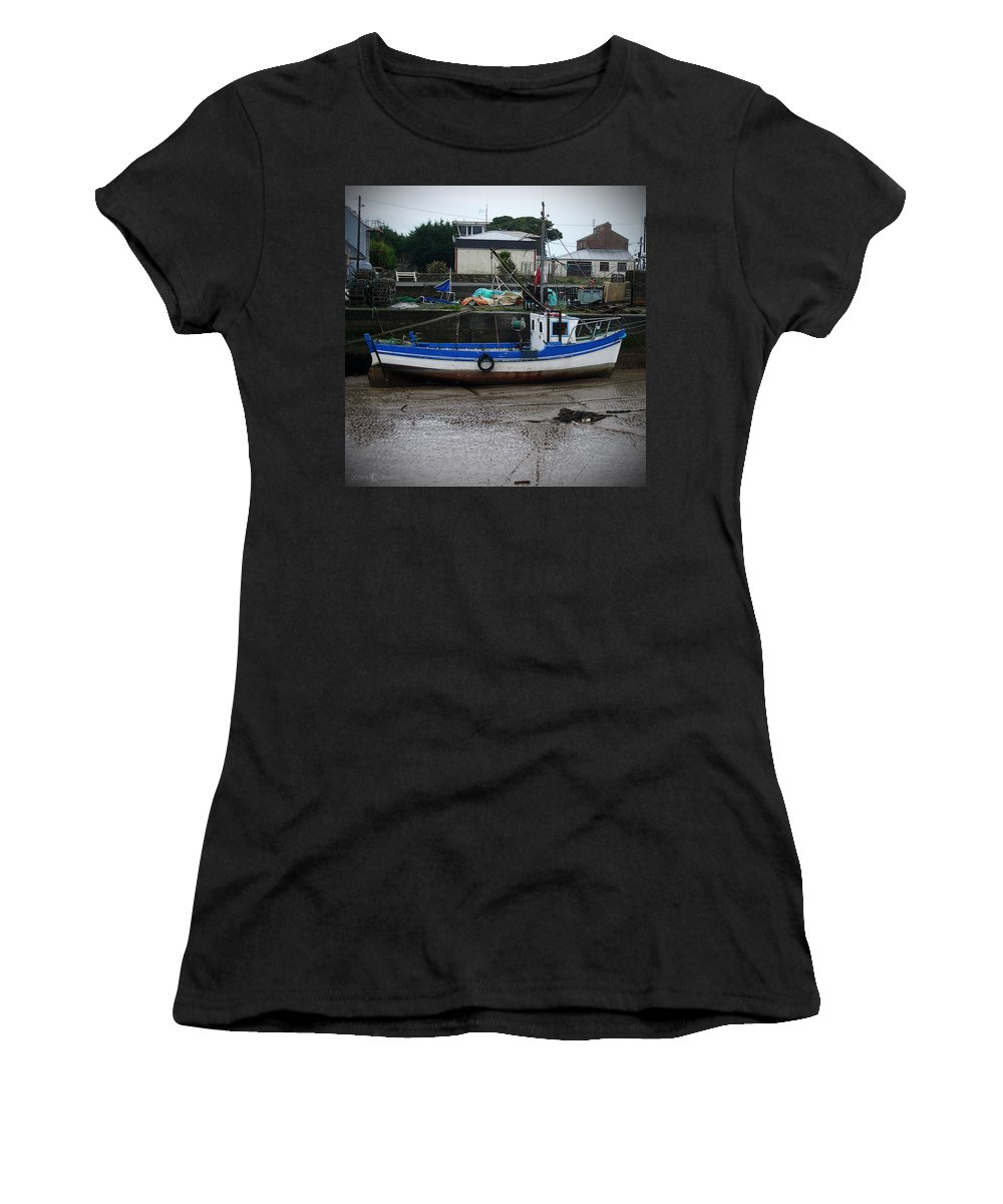 Boat Women's T-Shirt (Athletic Fit) featuring the photograph Low Tide by Tim Nyberg