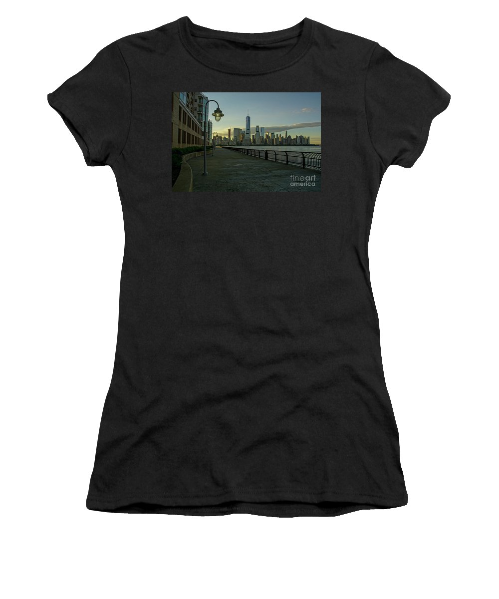 Hudson River Women's T-Shirt (Athletic Fit) featuring the photograph Lower Manhattan by Brian Kamprath