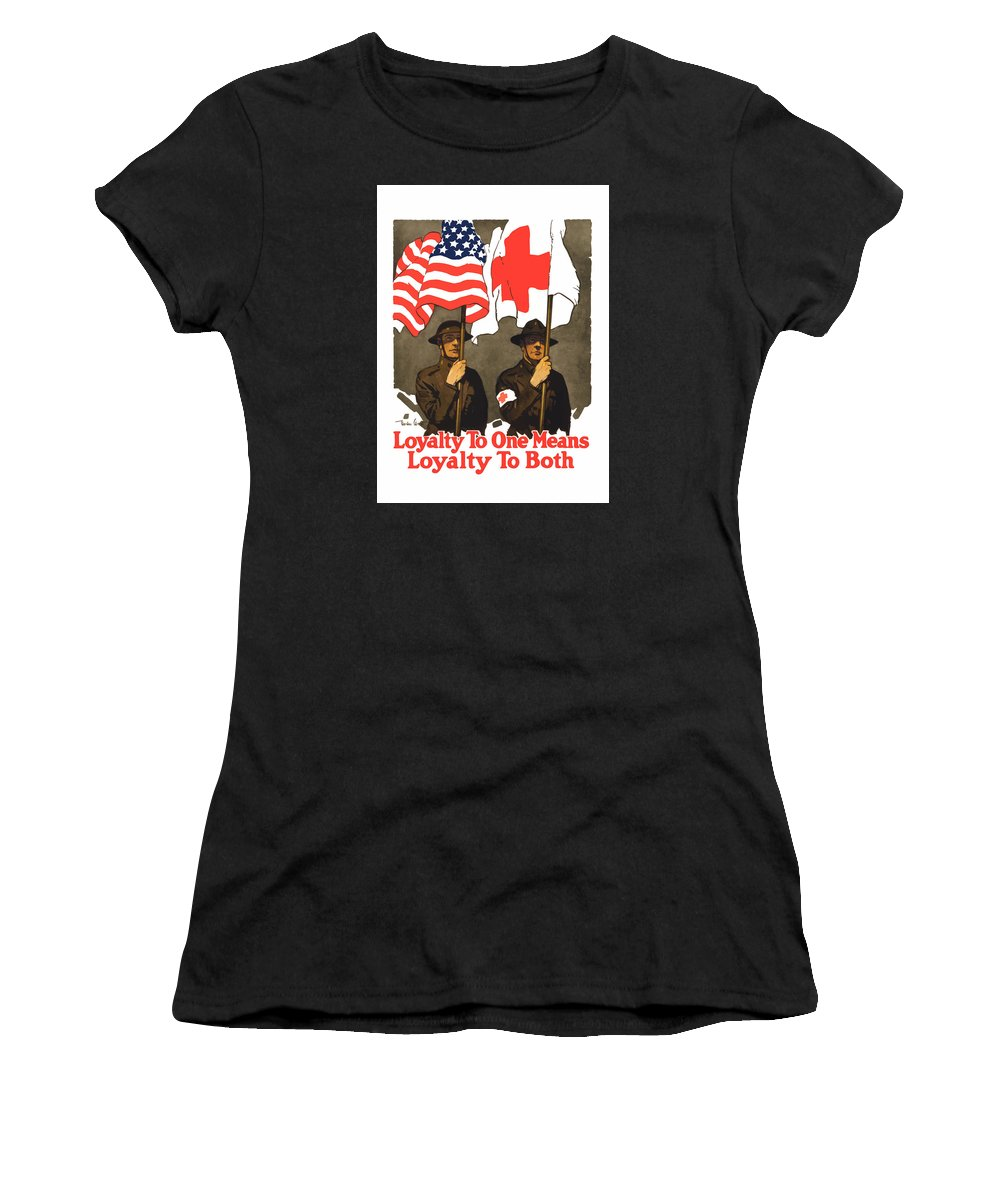 Red Cross Women's T-Shirt featuring the painting Loyalty To One Means Loyalty To Both by War Is Hell Store