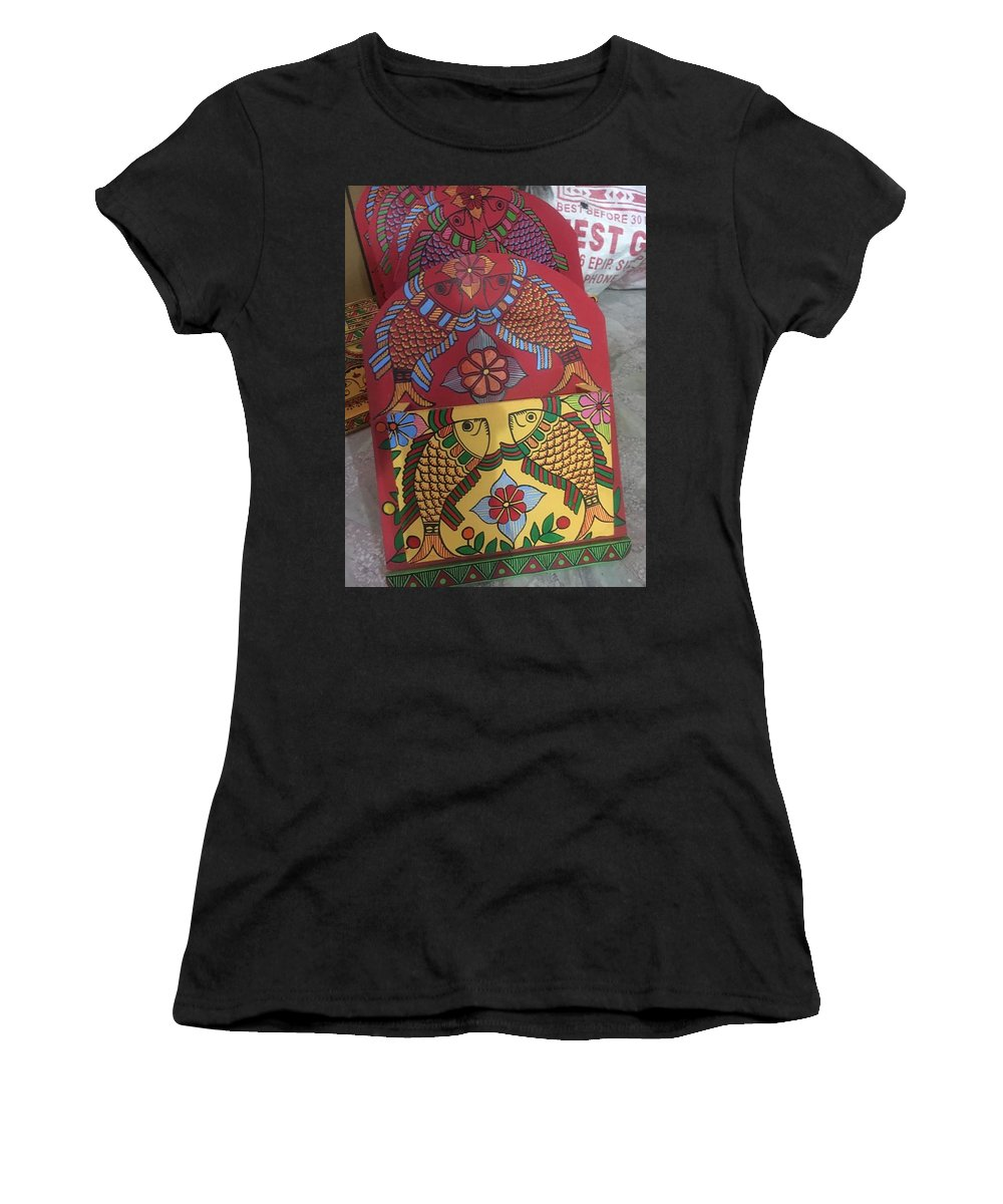 Fish And Flowers Women's T-Shirt (Athletic Fit) featuring the painting Ltr-#1 by Anamika Thakur