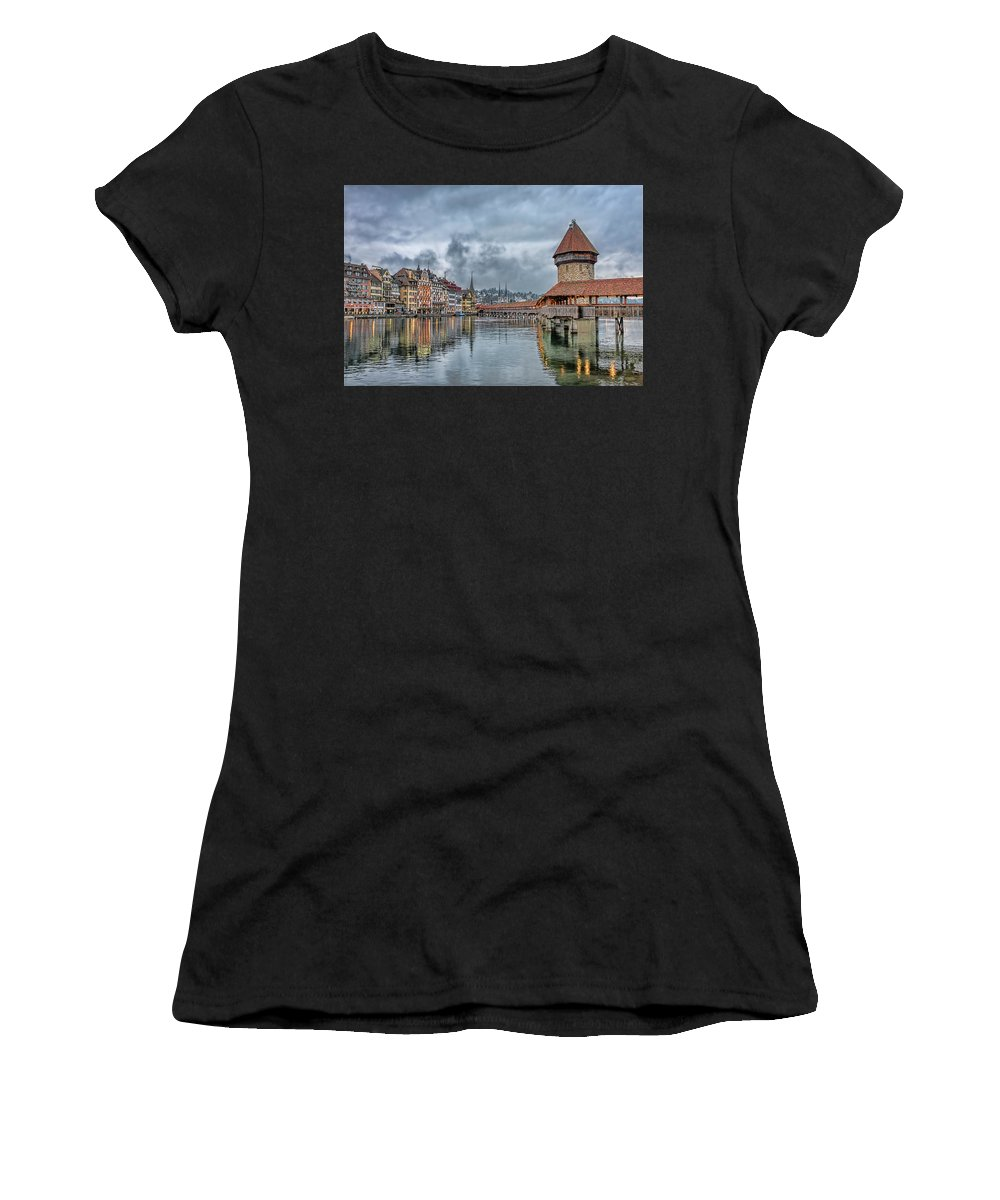 Landscape Bridge Clouds View Color Nature Travel Trip Architecture Chapel Reflection Women's T-Shirt (Athletic Fit) featuring the photograph Lucerne Chapel Bridge by LOsorio Photography