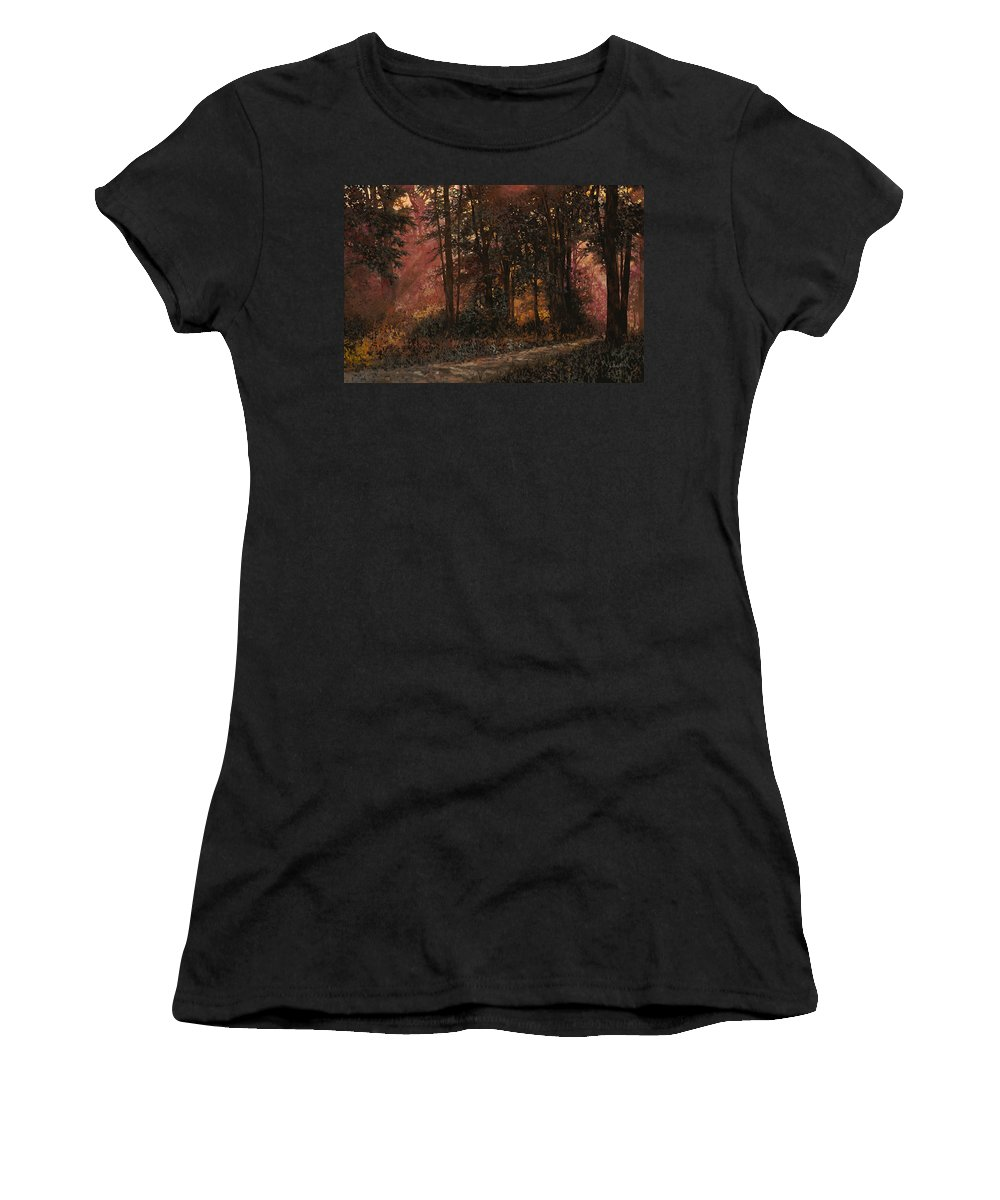 Wood Women's T-Shirt (Athletic Fit) featuring the painting Luci Nel Bosco by Guido Borelli