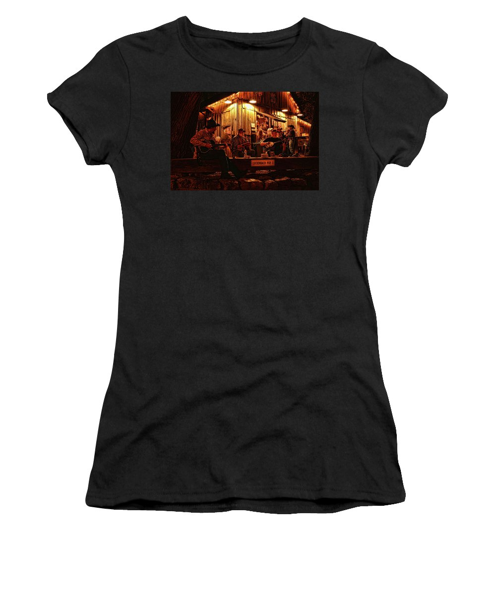 Luckenbach Women's T-Shirt (Athletic Fit) featuring the photograph Luckenbach Entertainment by Judy Vincent