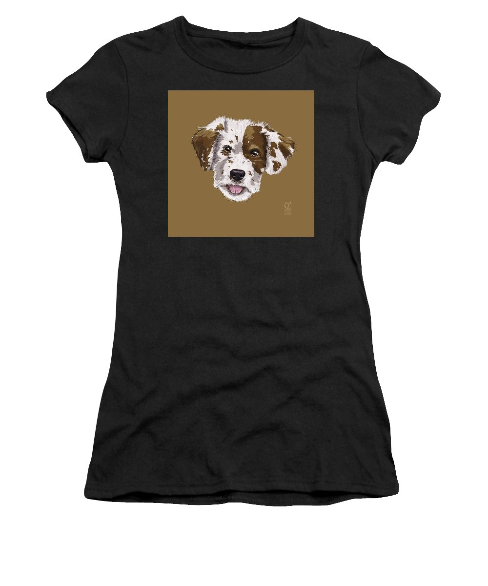Dog Women's T-Shirt (Athletic Fit) featuring the digital art Lucky Brown Mixed Breed by Rupert Schneider