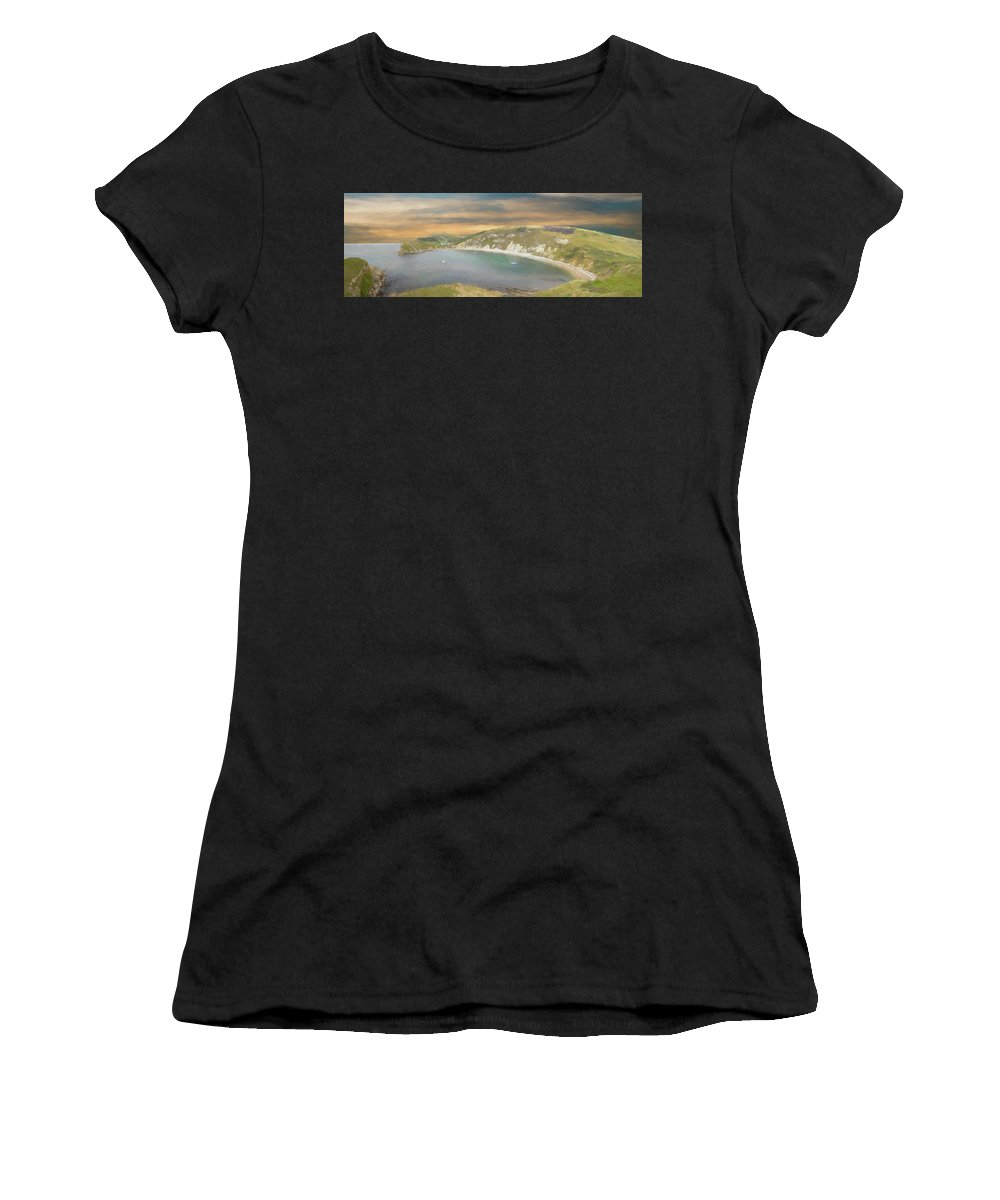 Lulworth Women's T-Shirt (Athletic Fit) featuring the photograph Lulworth Cove Panorama by Roy Pedersen