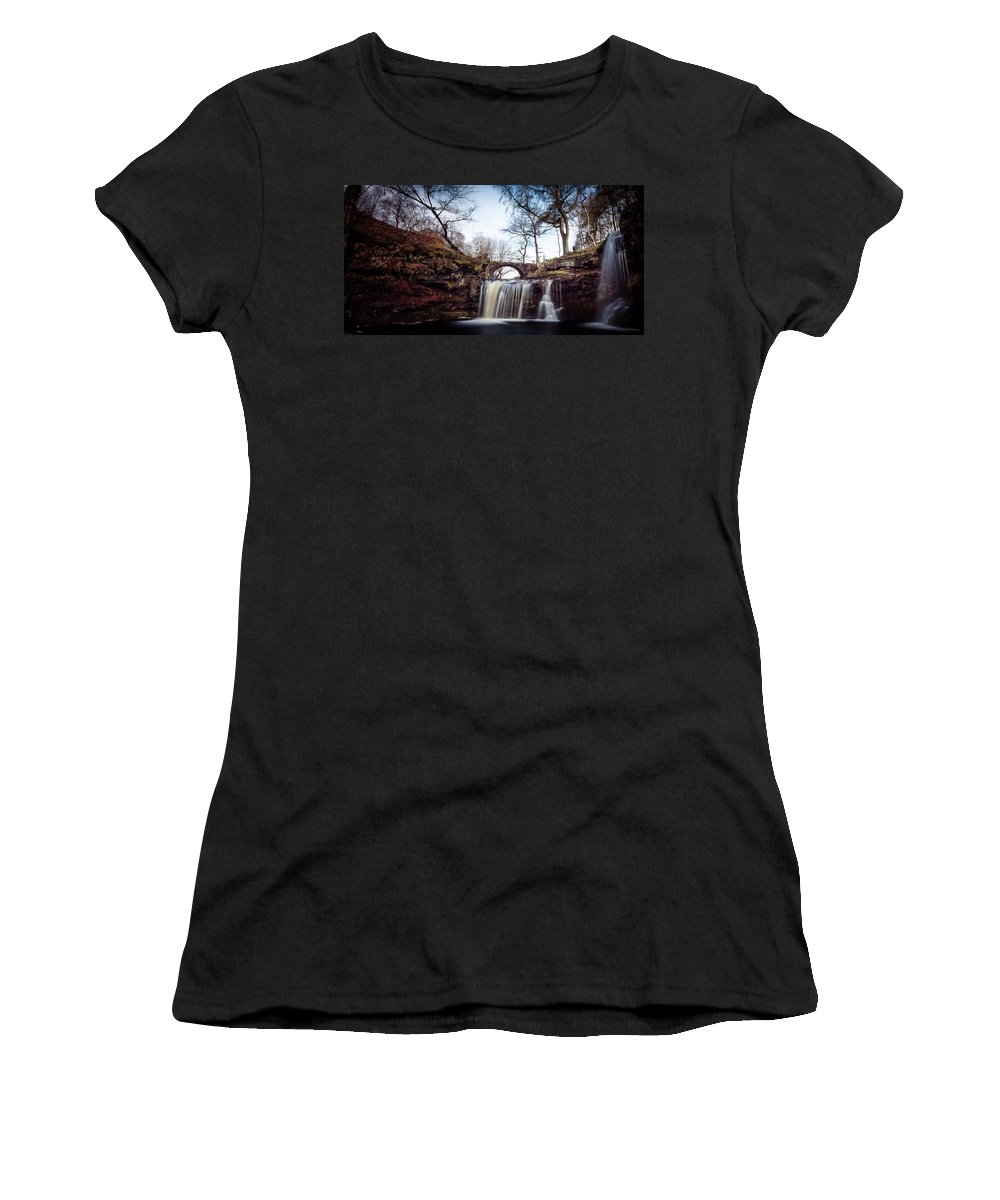Calderdale Women's T-Shirt featuring the photograph Lumb Falls Panoramic by Gary Turner