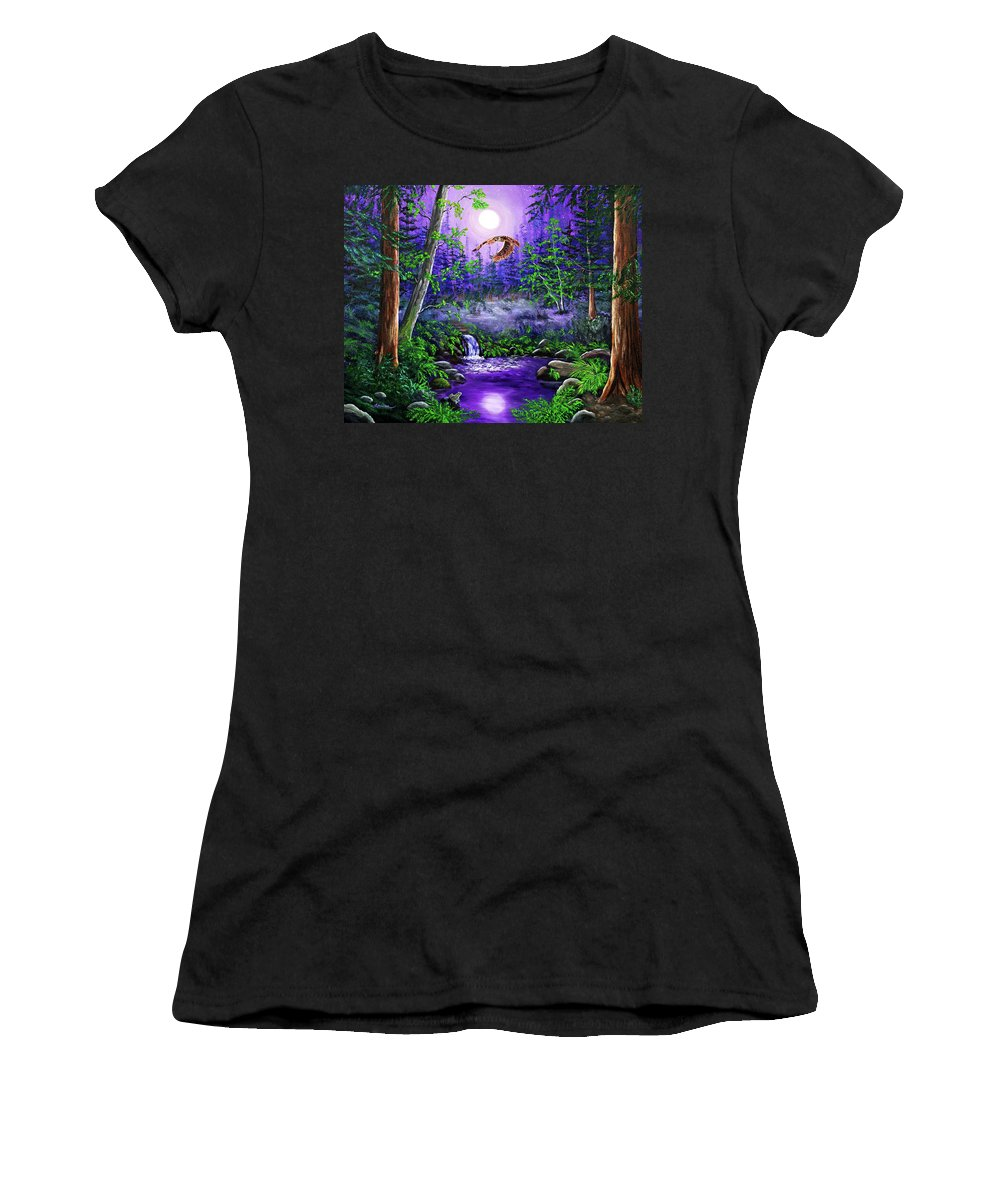 Zenbreeze Women's T-Shirt featuring the painting Luna's Flight by Laura Iverson