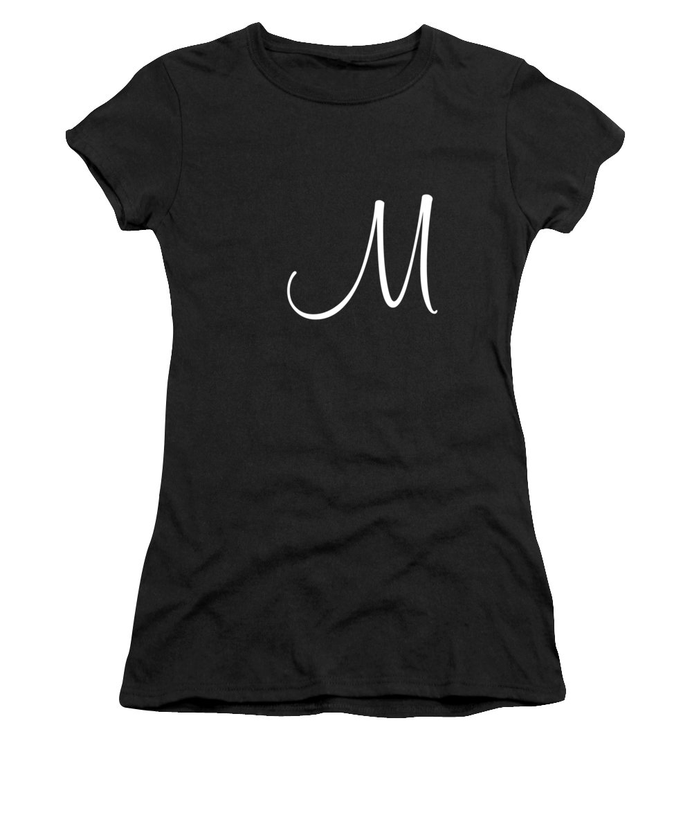 M Women's T-Shirt (Athletic Fit) featuring the digital art M In White Simple Script by Custom Home Fashions