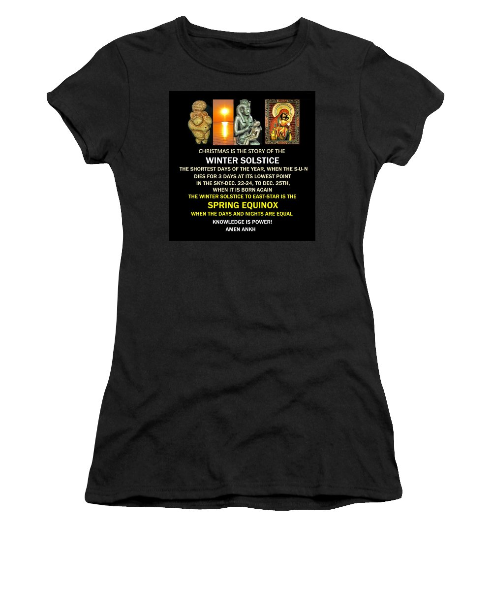 Ma Ra Women's T-Shirt (Athletic Fit) featuring the digital art Ma Ra Solstice by Adenike AmenRa