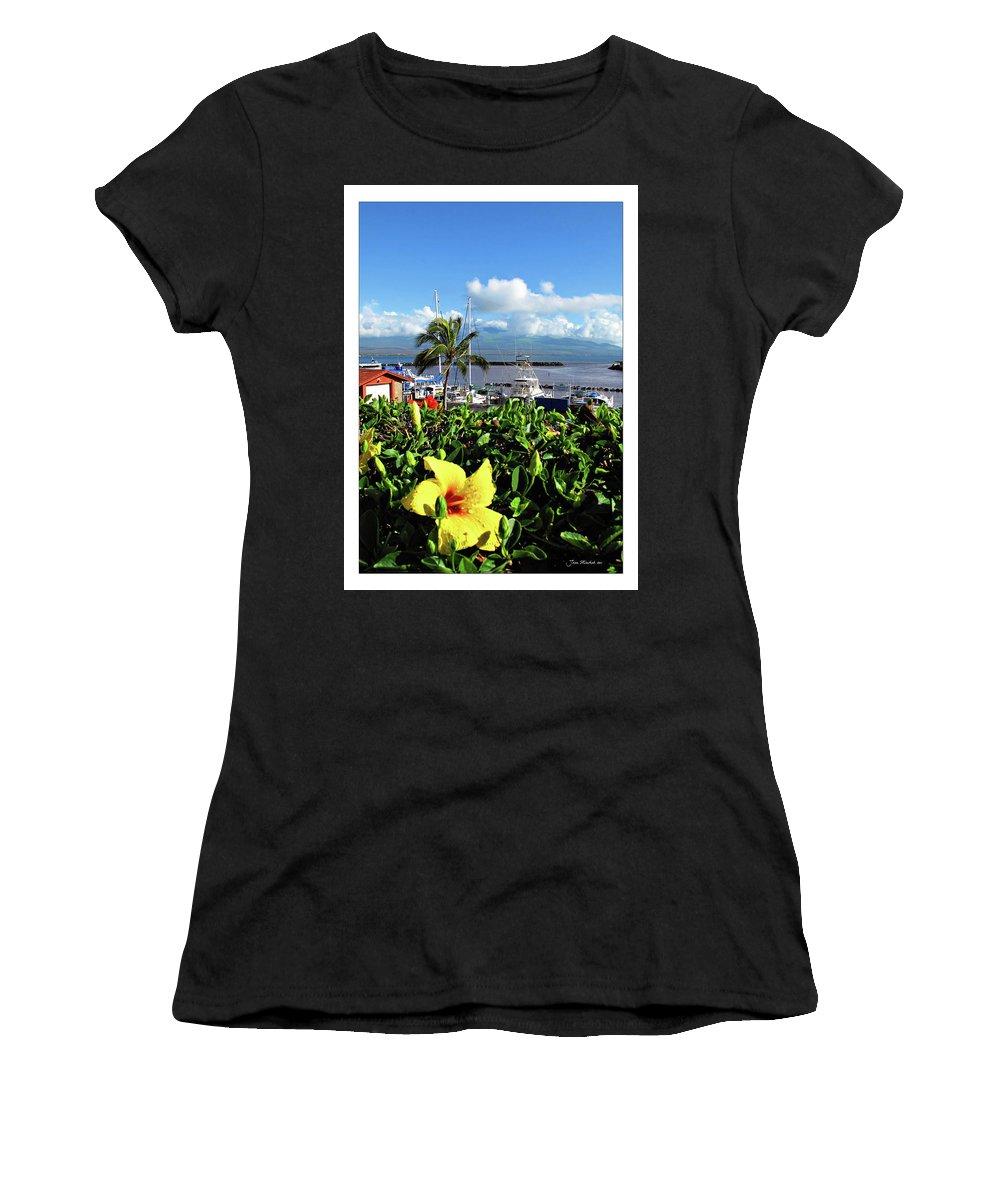 Boat Women's T-Shirt (Athletic Fit) featuring the digital art Maalaea Boat Harbor by Joan Minchak