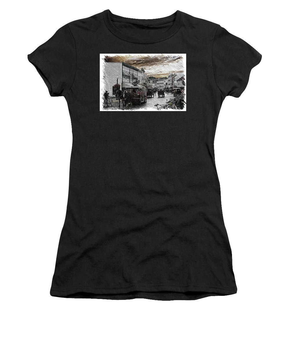Mackinac Women's T-Shirt featuring the photograph Mackinac Island Michigan Bikes Horses And Walking Pa 01 by Thomas Woolworth