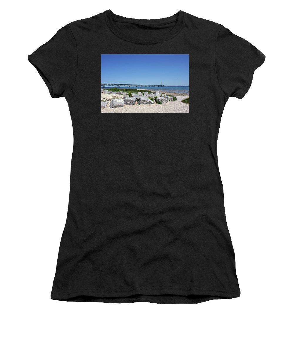 Mackinaw Bridge Women's T-Shirt (Athletic Fit) featuring the photograph Mackinaw Bridge 2 by Nancy Aurand-Humpf