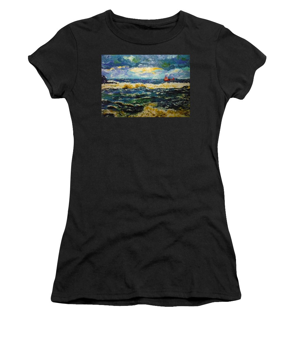 Sea Women's T-Shirt (Athletic Fit) featuring the painting Mad Sea by Ericka Herazo