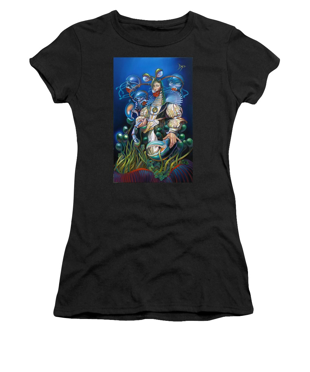 Sea Anemone Women's T-Shirt (Athletic Fit) featuring the painting Madame Clawdia D'bouclier From Mask Of The Ancient Mariner by Patrick Anthony Pierson