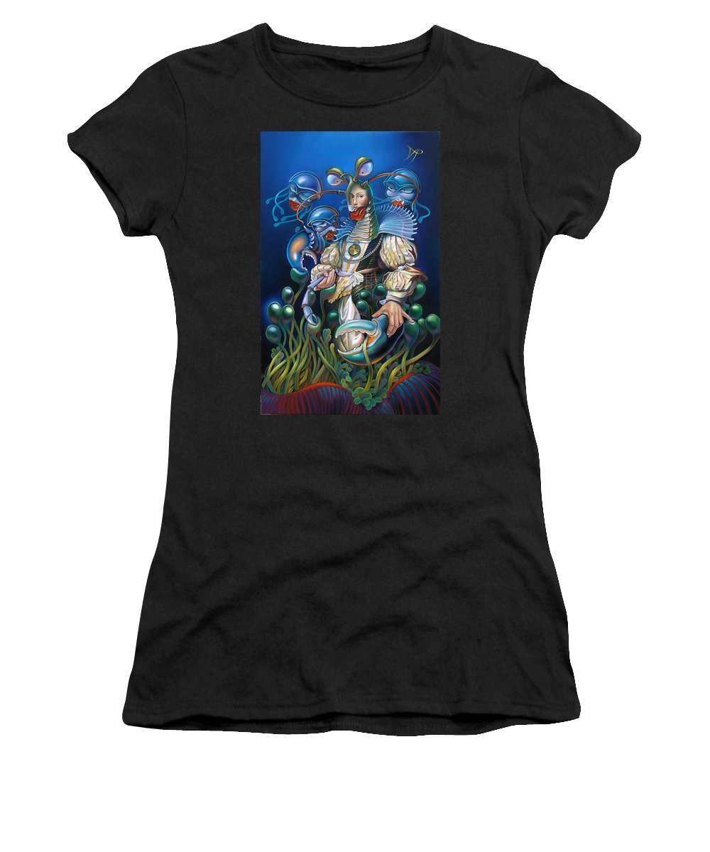 Sea Anemone Women's T-Shirt featuring the painting Madame Clawdia D'bouclier From Mask Of The Ancient Mariner by Patrick Anthony Pierson