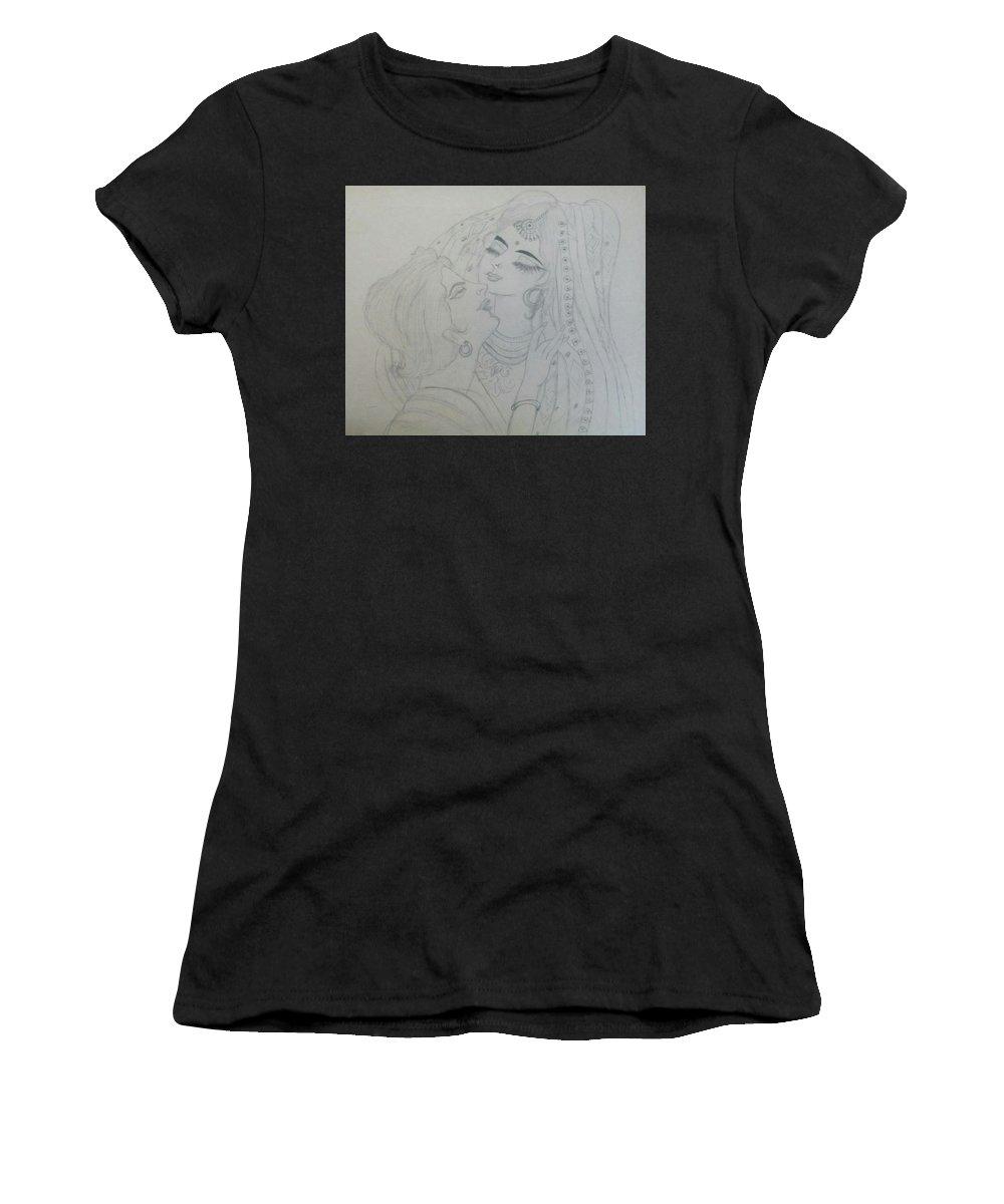 Sketch Women's T-Shirt (Athletic Fit) featuring the drawing Made For Each Other by Seema Sharma